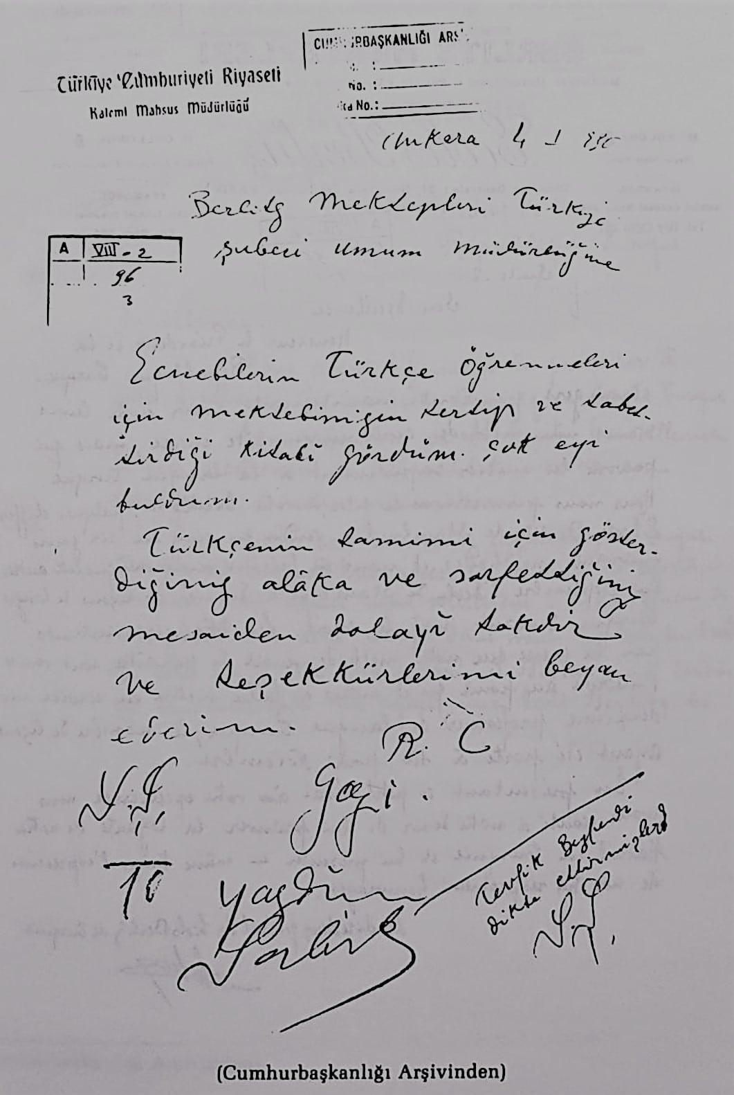 Atatürk'ün Berlitz İngilizce Kursuna teşekkür mektubu