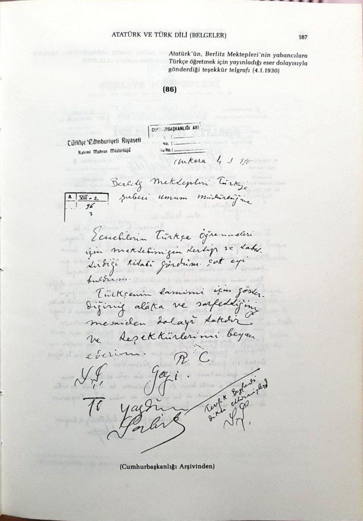 Atatürk'ün Berlitz Dil Okuluna Gönderdiği Teşekkür Mektubu